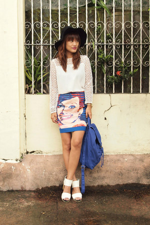 white Zara top - blue baggu bag - white romwe sandals