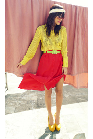 yellow knit thrifted top - yellow asianvoguemultiplycom heels