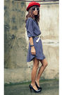 Blue-archiveclothing-dress-white-vintage-belt-black-daintyshop-shoes-red-e