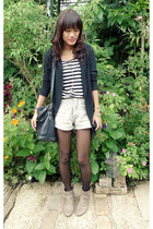 tan Primadonna boots - heather gray thrifted shorts - black From Bazaar cardigan