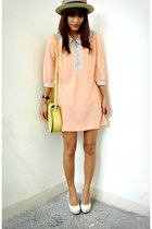 peach thrifted dress - light yellow ichigoshoesmutliplycom bag - white Chickflic