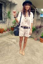 white romper from greenhills shorts - beige from friend shoes