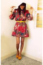 brick red Vintage Thrifted dress - white trinketsroyalemanila hat - yellow asian