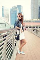 white cutout waist romwe dress - navy denim Wrangler jacket - black romwe bag
