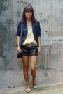 Black-forever21-shorts-gold-cotton-on-shoes-blue-thrifted-blazer-yellow-vi