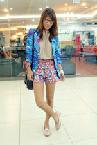 blue floral Wearelse Boutique blazer - light pink So FAB shoes
