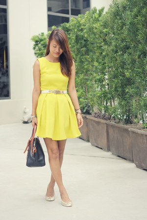 yellow romwe dress - navy dooney & burke bag - tan ballet New You flats