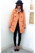light orange Archive Clothing coat - black vintage dress - black daintyshop heel