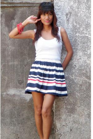 white Mango top - DIY skirt