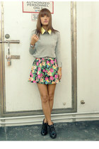 green hangten dress - black AsianVogue boots - heather gray Mango sweater