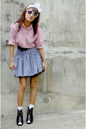 thrifted red striped shirt - black Plush tutu skirt - blue Going Modern by Archi