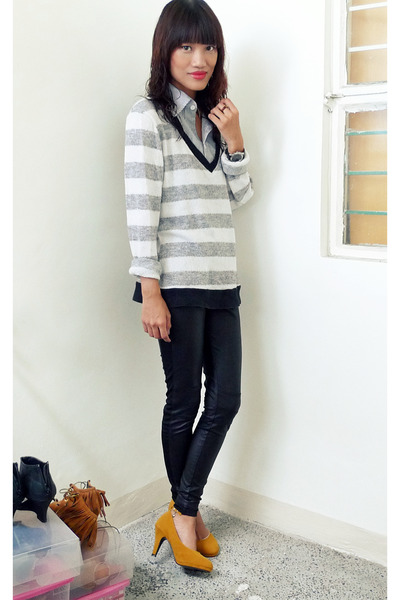 black Forever 21 leggings - heather gray borrowed shirt - yellow stfrancis heels