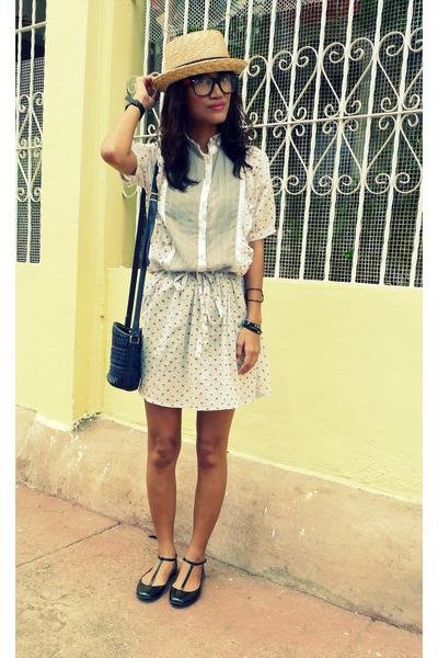gray Cherry dress thrifted dress - black Millies shoes - blue Liz Claiborne Bag