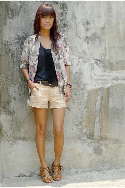 brown fringe wedge shoes - brown Zara shorts - beige thrifted sheer floral blaze