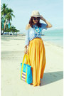 Eggshell-sm-hat-aquamarine-from-palawan-native-bag-orange-maxi-zara-skirt