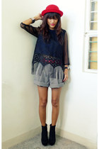black gift from friend top - black Going Modern by Archive shorts - black Foreve