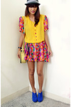 blue chickflickcollection wedges - yellow Archiveclothingmultiplycom dress