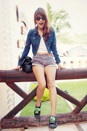 blue thrifted shorts - navy denim Forever 21 jacket - black Shulong sneakers
