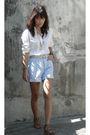 White-giordano-shirt-blue-guess-shorts-brown-from-hk-shoes-white-vintage-b
