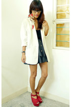 ruby red Jellybean wedges - white Archive Clothing blazer - gray Pirouette skirt