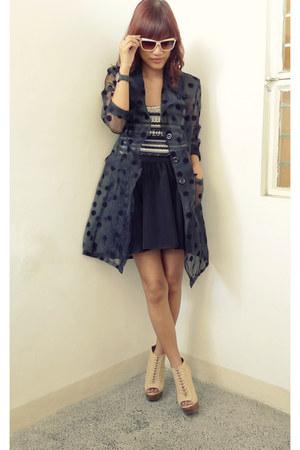black thrifted vintage coat - black used as top stye swap dress