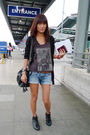 Gray-top-blue-thrifted-shorts-black-from-thailand-accessories-black-foreve