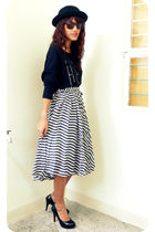 black Audrey Hepburn dress used as top top - white Archiveclothing skirt - black