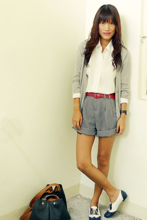 black Archive shorts - heather gray Forever 21 cardigan - white custom made flat