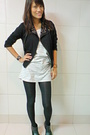 Gray-shirt-dress-top-cropped-studded-jacket-wedge-tights-shoes