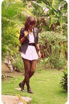 black thrifted blazer - black Millies shoes - pink LAMB dress
