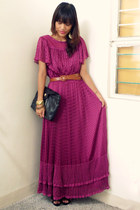 magenta maxi vintage 70s dress - black Juan shoes - black from Ebay purse