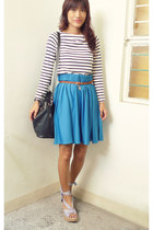 blue closetclothingmultiplycom skirt - dark brown SM belt - navy thrifted top