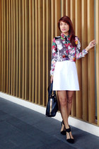 brick red floral print Kamiseta top - black suiteblanco bag