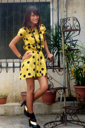 yellow vintage dress - black Pill footwear shoes