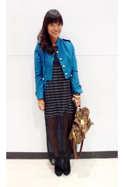black Vintage DKNY dress - teal miltary ensembles jacket - brown landmark bag