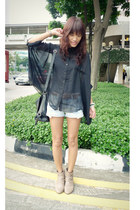 tan Primadonna boots - black batwing from Singapore market shirt - light blue Fr