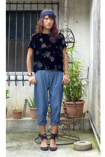 black thrifted top - blue WAGW pants - black
