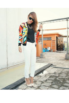 carrot orange bomber Wardrobe Check jacket - white Wrangler pants