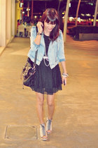 black lace thrifted dress - light blue acid wash random from Hong Kong jacket -