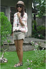 White-thrifted-shirt-brown-zara-shorts-black-from-friend-shoes