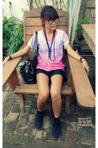 pink yourfashionpolicemultiplycom shirt - black Zara shorts - black Keds highcut