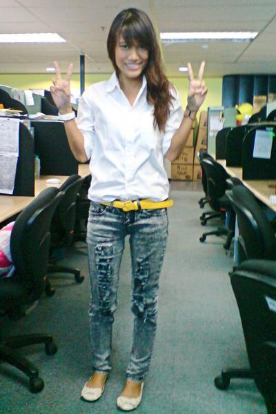 white Zara top - acid wash distressed jeans - vivienne westwood for melissa shoe