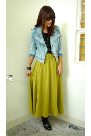 chartreuse Archive Clothing skirt - black H&M boots - sky blue From HK jacket