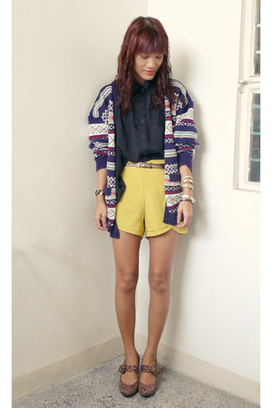 navy native From Baguio cardigan - brown gift shoes