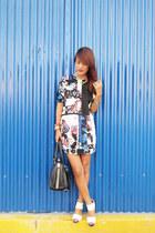 navy jhajing dress - black suiteblanco bag - white romwe sandals