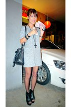 silver thrifted dress - black bought online shoes - black Forever 21 necklace -