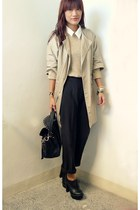 black satchel Manels bag - beige trench The Ramp coat - black thrifted pants