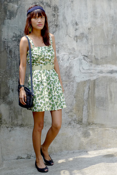 green from Ebay dress - from SM headband accessories - blue Liz Claiborne Bag ac