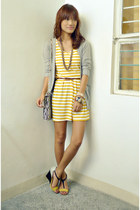heather gray So FAB wedges - yellow Heir Line Clothing dress