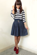 navy thrifted vintage skirt - brick red Ebay boots